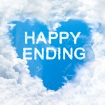 Happy ending word on blue sky